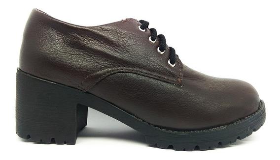 Sapato Feminina Oxford Salto Alto Tratorado 2018 Couro Bege