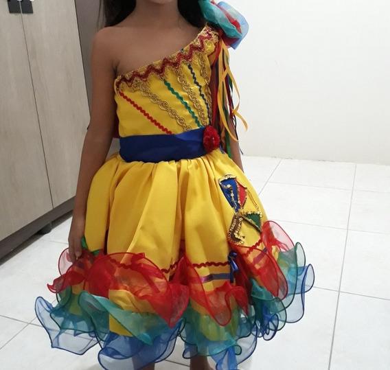 Vestido Quadrilha Junina Para Meninas De 4 E 5 Anos