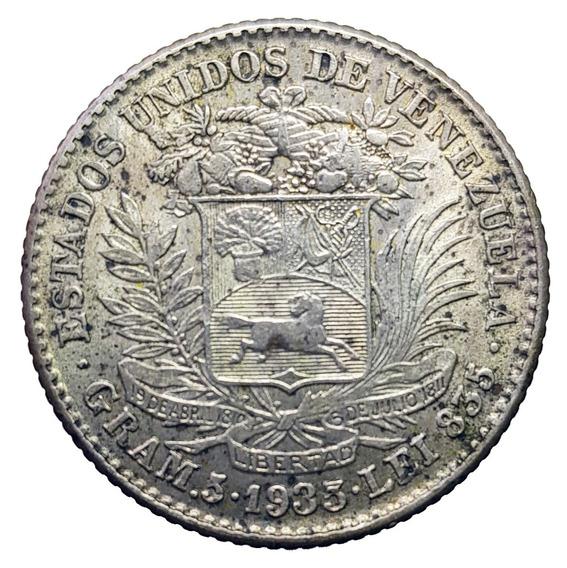 Ch C / Venezuela - 1 Bolivar 1935 Km Y#22 Plata