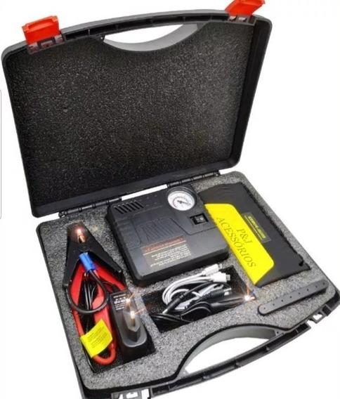 Auxiliar Partida Portátil Veicular Bivolt + Compressor De Ar