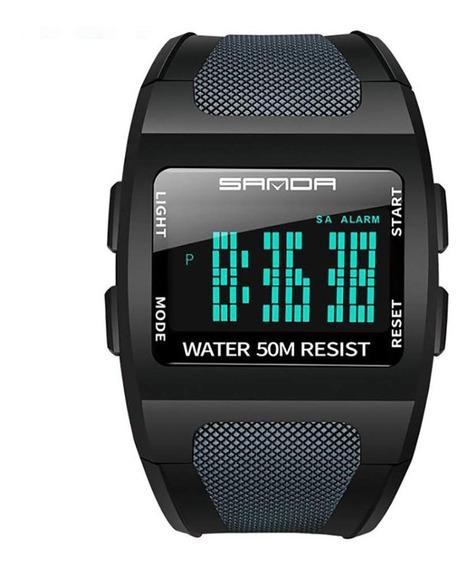 Relógio Masculino Sanda Led Estilo Digital Esportivo Preto