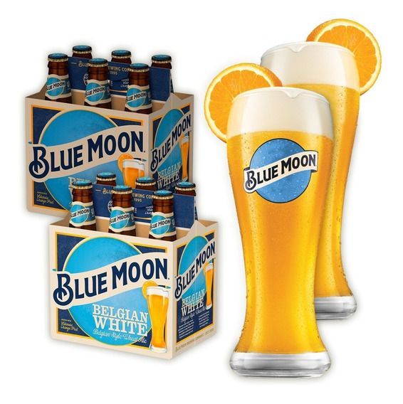 Combo Blue Moon 12u. 330cc + 2 Vasos Blue Moon De Regalo