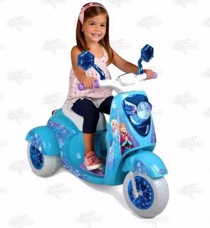 Motocicleta Eléctrica Para Niña 6v Disney Frozen Azul Xtr C