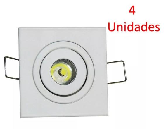 Kit 4 Mini Spot Quadrado Direcionável C Led 1w Branco Quente