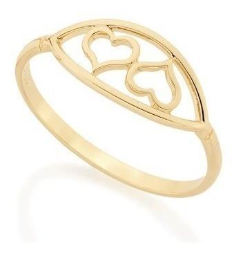 Anel Rommanel Skinny Ring Corações Vazados 512234 Folheado