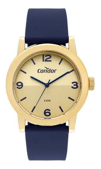 Relógio Condor Feminino Dourado C/ Azul Co2035mqs/8x Oferta