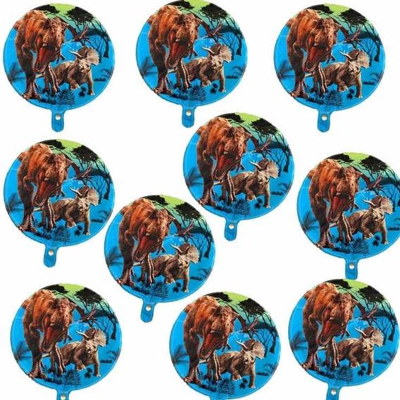 Jurassicc Kit 10 Globos Metálicos Dinosaurios Decoración