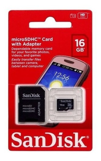 Cartão De Memória Sandisk 16 Gb Microsdhc Com Adaptador