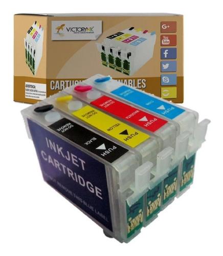 Pack Cartucho Rellenable Ep 73nr Tx220 T21 + 4 Tintas Dye