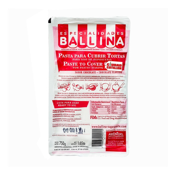 Pasta P/torta 750g Ballina Choc/vai - Ciudad Cotillón Envíos