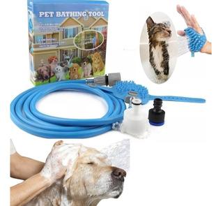 Manguera Duchador Masajeador Mascotas Cepillo + Adaptadores