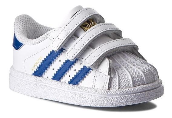 Tenis adidas Superstar Blanco/azul Velcro Bebe Bz0421