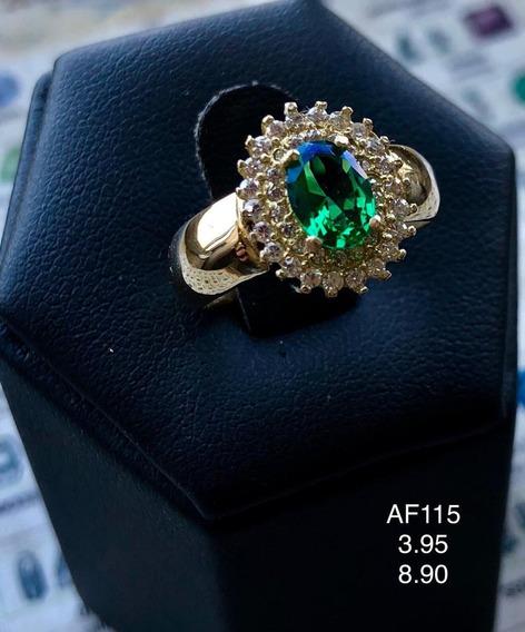 Anel Em Ouro 18k Com Pedra Naturais: Esmeralda E Diamantes