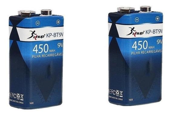 2 Bateria Recarregável 9v Knup 450 Mah Original Radio Violão