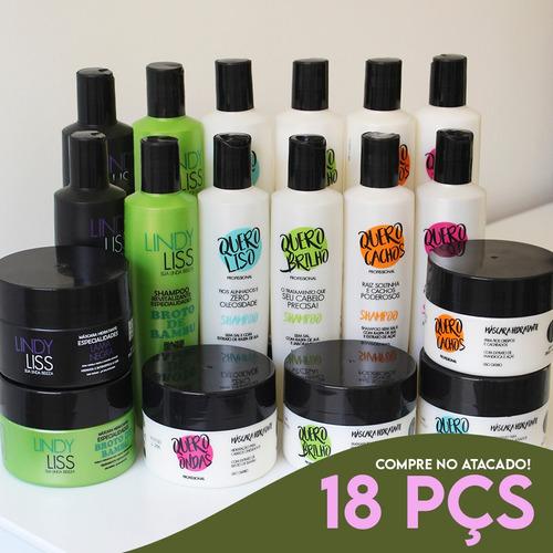 18 Itens (06 Kits) = Shampoo, Condicionador E Máscara