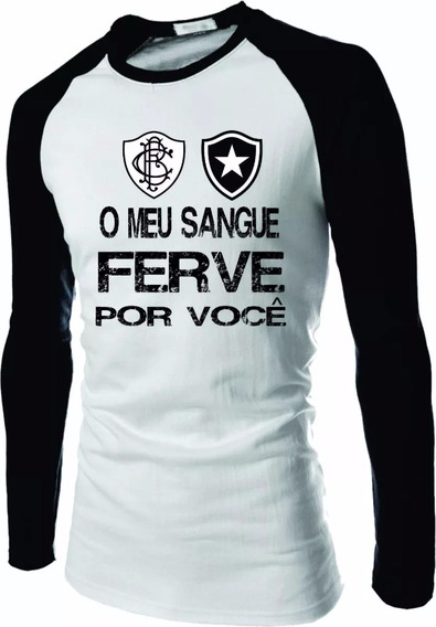 Camiseta Botafogo Raglan Manga Longa Fogão Camisa