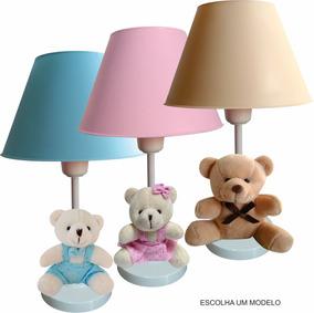 Abajur Infantil Moderno Com Ursinho Para Quarto Bebê Criança