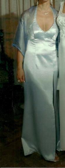 Vestido De Fiesta Saten Bordado. Impecable. 1 Sola Postura