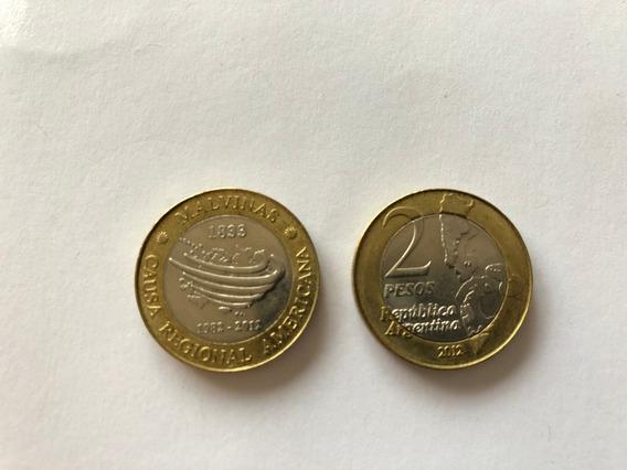 Argentina Moneda Conmemorativa De 2 Pesos Islas Malvinas