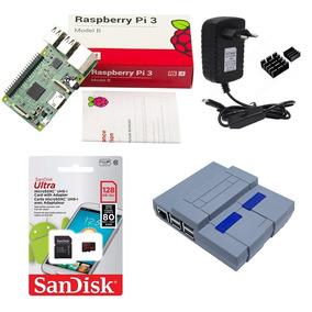 Kit Básico Raspberry Pi 3 - 128gb Case Snes