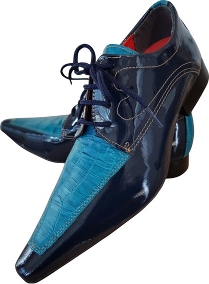Sapato Masculino Em Couro Azul Escuro E Jacaré Ref: 678