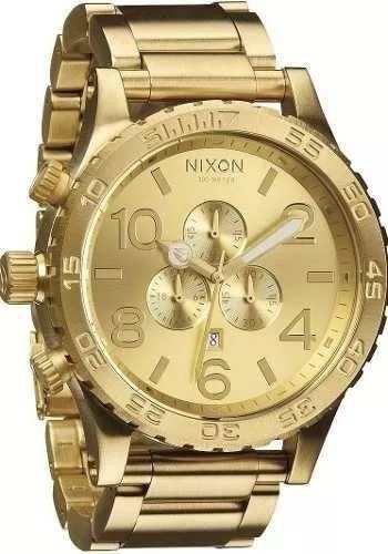 Relogio Pa0289 Nixon Chrono 51-30 Original Dourado + Caixa