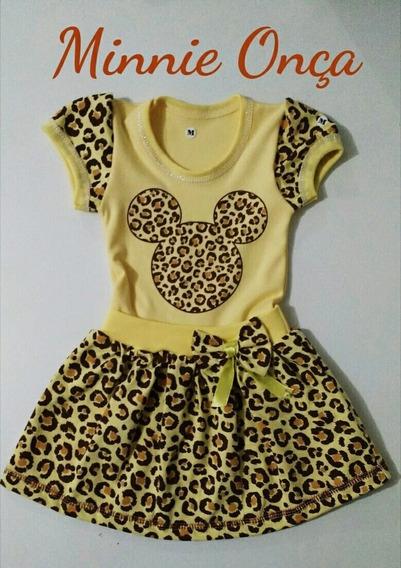 Vestido Minie Oncinha Infantil Temático Veste Até 6 Anos