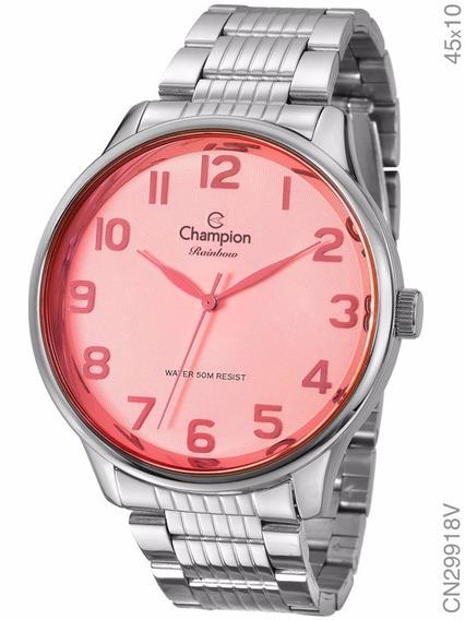 Relógio Champion Feminino Prateado Cn29918v Original + Nf