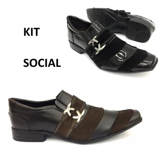 Sapato Social Masculino Kit 2 Pares Bico Fino