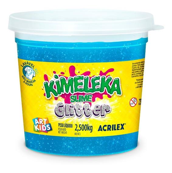 Slime Kimeleca Com Glitter 2,5kg Azul Acrilex