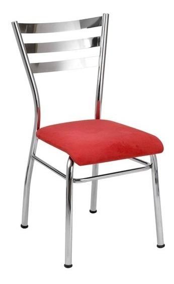 Cadeira Cozinha Com Reforço Cromada Assento Vermelho
