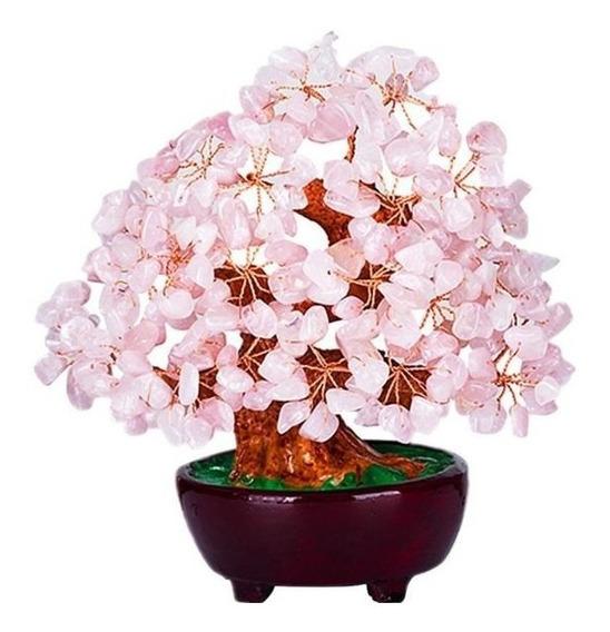Bonsai Artificial Em Pedra Cristal Rosa Decoração Ambiente