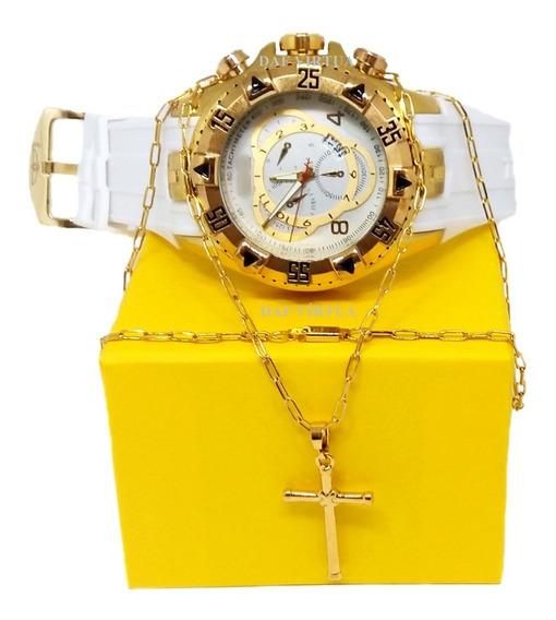 Relógio Masculino Dourado Grande Ostentação + Caixa + Brinde