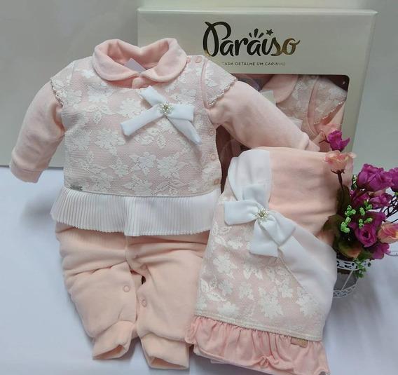 Saida Maternidade Plush Paraiso Bebê Menina Macacão Cod 8331