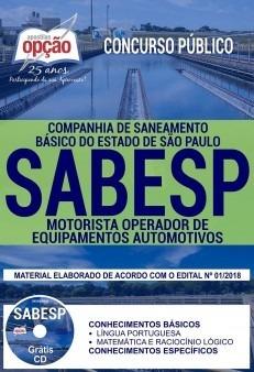 Apostila Sabesp 2018 - Motorista Operador De Equipamentos Au