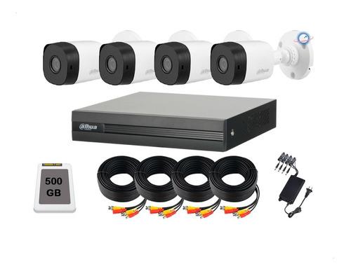 Imagen 1 de 6 de Kit Cctv 4 Camaras 720p Dahua Cables 20 Mt 1 Mpx Disco 500gb