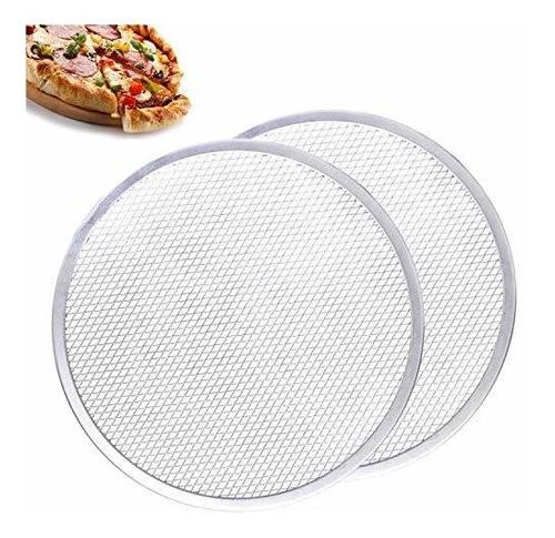 Imagen 1 de 7 de Pantalla Para Pizza Antiadherente De Aluminio 12 Pulgadas X2