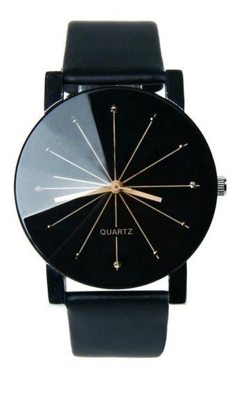 Relógio Quartz Preto Com Pulseira De Couro