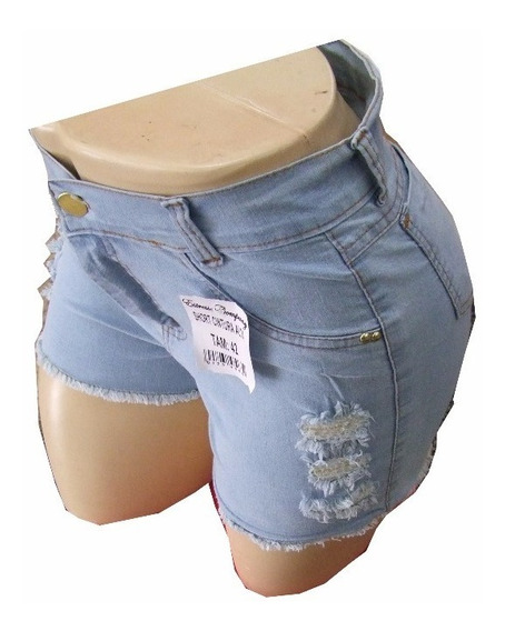 Kit 5 Shorts Jeans Feminino Hot Pants Cintura Alta Atacado
