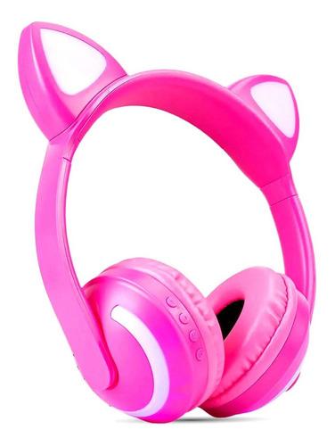 Fone Bluetooth Orelhas De Gatinho Led Cores Variadas Rosa
