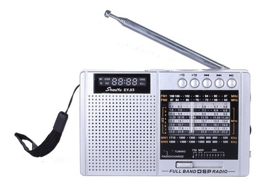 Rádio Receptor Shouyu Sy-x5 Am Fm Sw Ondas Curtas Cartão Tf