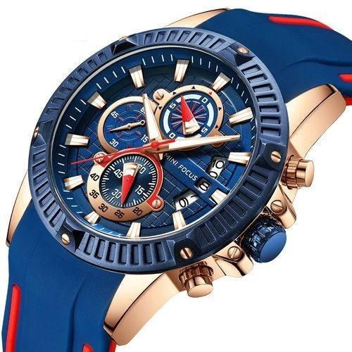 Relógio Esporte Luxo Mf0244g Minifocus Silicone Pulseira