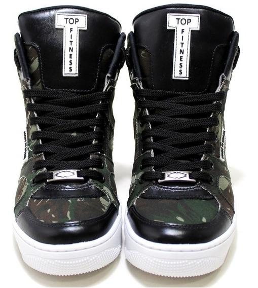 Botinha Sneakers Conforto Top Fitness Cano Alto Camuflada