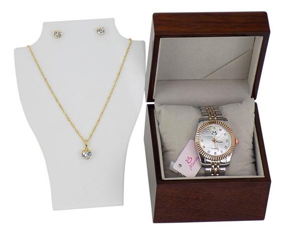 Relógio Dourado Feminino Original + Colar E Brincos -1a40