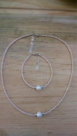 Set De Collar Y Pulsera Cristal Con Perla Natural Y Plata