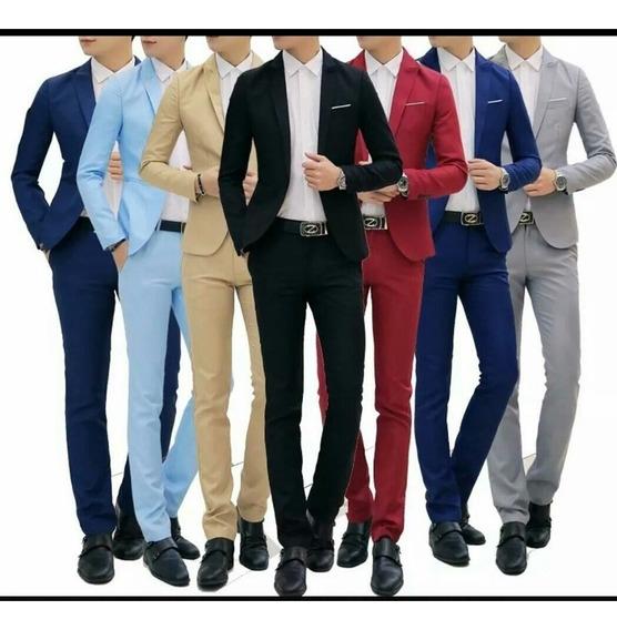 Terno Masculino Slim Fit Corte Italiano Blazer+calça Poliest