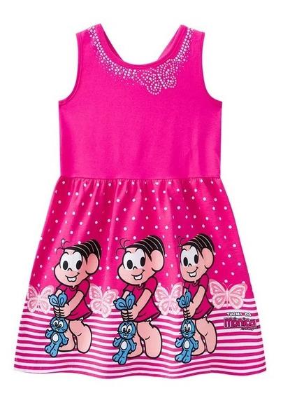 Vestido Infantil Rosa Pink Turma Da Mônica Brandili - Tam 4