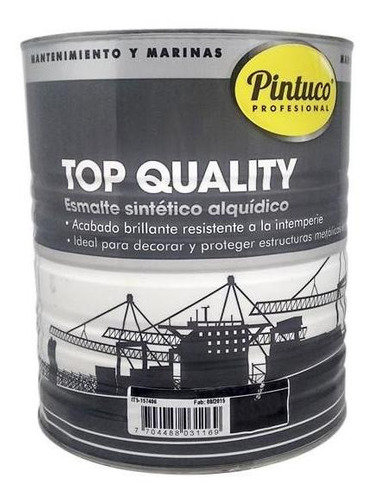 Esmalte Top Quality Negro 1772 Galon Pintuco
