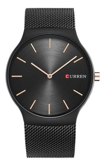 Relógio Masculino Curren Preto 8256 Pulseira Malha De Aço