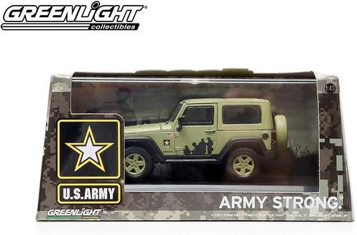 Greenlight Jeep Wrangler Us Army Mide 9,5 Cm. Escala 1:43